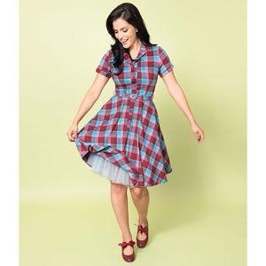 Voodoo Vixen Piper Plaid Belted Flair Shirt Dress